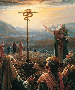 Moses lifts up the snake in the desert